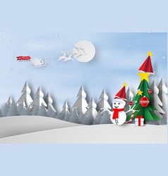paper art and craft of merry christmas with trees vector image