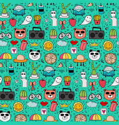 Pattern with hand drawn doodle lovely background vector