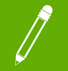 pencil with eraser icon green vector image