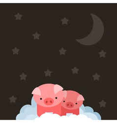 Pig on cloud vector