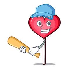 Playing baseball heart lollipop character cartoon vector