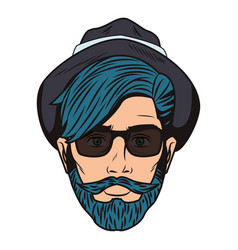 Pop art hipster face vector