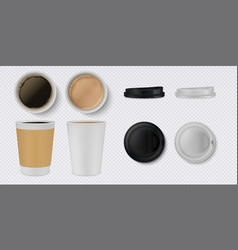 realistic paper coffee cup 3d white and brown mug vector image
