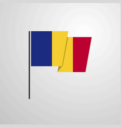 Romania waving flag design background vector