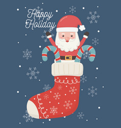 Santa in sock with candy canes happy holiday card vector