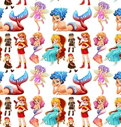Seamless fairytales female characters vector