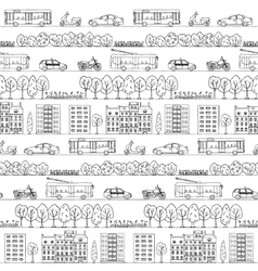 Seamless pattern with hand drawn city street vector image vector image