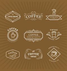 set coffee logo vintage label blackboard retro vector image