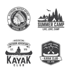 Set of kayak club badge vector