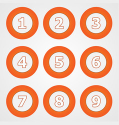 Set of round numeric buttons in orange vector