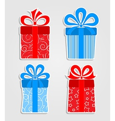 Set of stickers - red and blue gift boxes vector