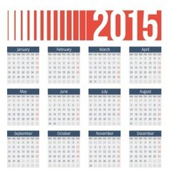 Simple european 2015 year calendar vector image