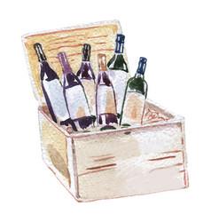 Six different wine bottles in wine box vector