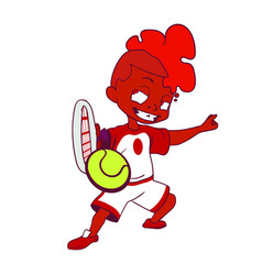 Smug little boy with a mohawk playing tennis on a vector