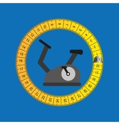 Stationary bicycle and tape measure vector