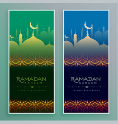 Stylish ramadan kareem islamic banners vector