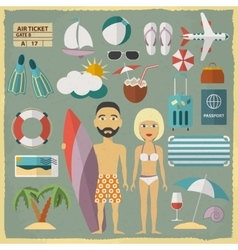 Summer holiday character design with summer vector image