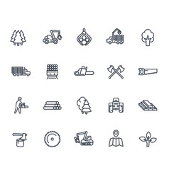 Timber industry icons on white vector