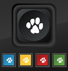 trace dogs icon symbol Set of five colorful vector image