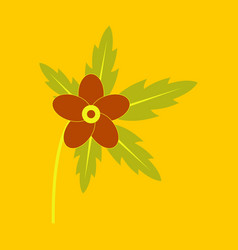 Tree leaf with flower in flat style vector