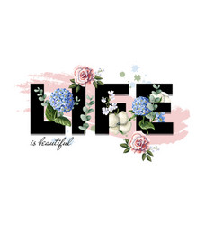typographic print for a t-shirt with flowers vector image