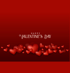 Valentines day red background with 3d hearts vector