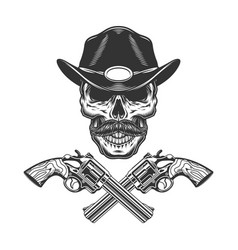 Vintage monochrome mustached sheriff skull vector