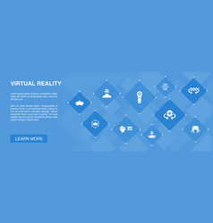 Virtual reality banner 10 icons conceptvr helmet vector