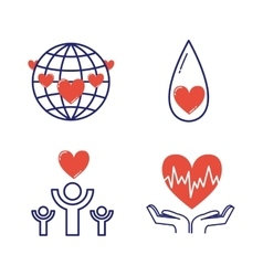 Volunteer donate icons set vector