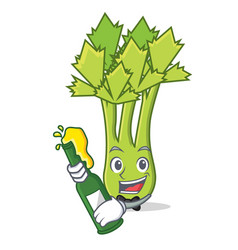 With beer celery mascot cartoon style vector