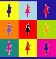 women and baby sign pop-art style vector image