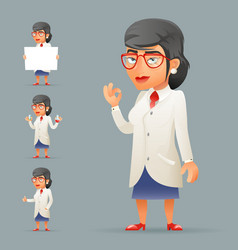 women professor expert scientist genius character vector image