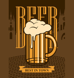 banner with beer glass on background of old city vector image vector image