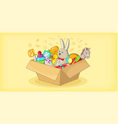box with toys horizontal banner cartoon style vector image