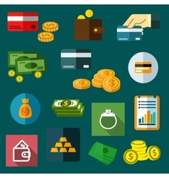 Finance business and money flat icons vector image vector image