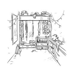 walk-in closet garderobe drawing interior vector image vector image