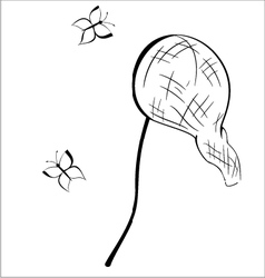 Black and white contour butterfly net vector image