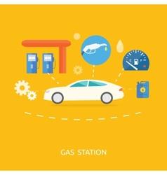 Car in gas station Fuel petrol dispenser pump vector image
