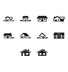 flat black home icon set vector image vector image