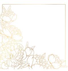 rose peony flowers border frame corner bright gold vector image vector image