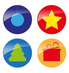 xmas simple glossy color icons vector image