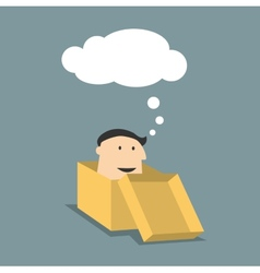 Cartoon man in a box with thought cloud vector image vector image