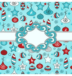 Christmas pattern with with Frame vector image vector image