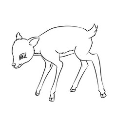 deer rat cartoon - line drawn vector image