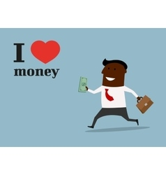 Happy black businessman in love money concept vector image