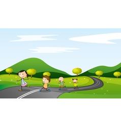 kids walking background vector image vector image
