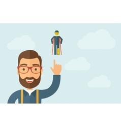 Man pointing the man with crutches icon vector