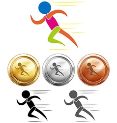 Sport medals and running vector image vector image