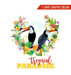Tropical Graphic Design Toucan and Tropical Flower vector image vector image