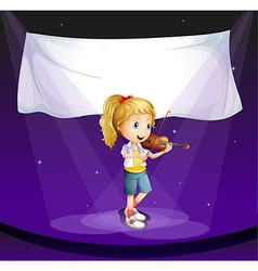 A girl performing at the stage with an empty vector image vector image